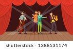 Jazz Band Concert Flat Vector...
