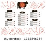 steak menu design. bbq grill... | Shutterstock .eps vector #1388546354