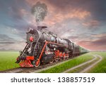 retro soviet steam locomotive | Shutterstock . vector #138857519