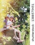 full length of friends fishing... | Shutterstock . vector #1388575451
