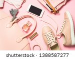 woman flat lay background.... | Shutterstock . vector #1388587277