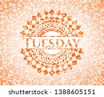 tuesday abstract orange mosaic... | Shutterstock .eps vector #1388605151