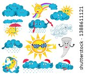 cute sun and happy clouds. cute ... | Shutterstock .eps vector #1388611121