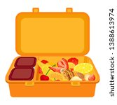 open lunchbox icon. cartoon of... | Shutterstock .eps vector #1388613974