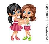 two lovely happy best friends... | Shutterstock .eps vector #1388624351