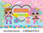 party backdrop with cute lol... | Shutterstock .eps vector #1388669321