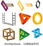 a set of impossible figures ... | Shutterstock .eps vector #138866945