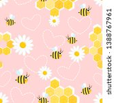 Bee Seamless Pattern  In Daisy...