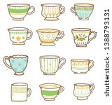 hand drawn vintage tea cups set  | Shutterstock .eps vector #1388793131