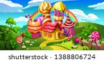 a fairytale candy castle town.... | Shutterstock .eps vector #1388806724