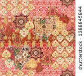seamless ethnic paisley with... | Shutterstock . vector #1388845844