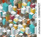 buildings city seamless pattern....   Shutterstock .eps vector #1388846927