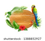 realistic tropical wooden board ... | Shutterstock .eps vector #1388852927