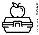 apple on lunchbox icon. outline ... | Shutterstock .eps vector #1388884451