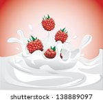 raspberries splashing in milk ... | Shutterstock .eps vector #138889097