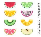 vector set of fruit slices ... | Shutterstock .eps vector #1388893217