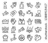 sanitation icons set. outline... | Shutterstock .eps vector #1388915417