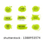 set of organic label and... | Shutterstock .eps vector #1388953574