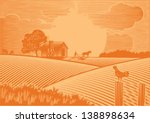 landscape of farmer plowing... | Shutterstock .eps vector #138898634