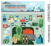 essential packing kit for... | Shutterstock .eps vector #1389012401