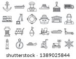 marine port transport icons set.... | Shutterstock . vector #1389025844