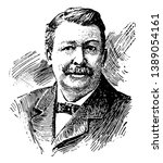 Joel Chandler Harris, 1848-1908, he was an American journalist, fiction writer, and folklorist, famous for his collection of Uncle Remus stories, vintage line drawing or engraving illustration