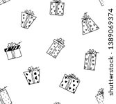 Seamless pattern of gift boxes. Vector cartoon background. Hand-drawn style.