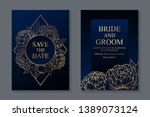 floral wedding invitation... | Shutterstock .eps vector #1389073124