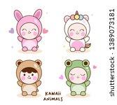 illustrator of kawaii animal... | Shutterstock .eps vector #1389073181