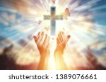 close up hands on the... | Shutterstock . vector #1389076661