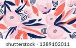 modern exotic flowers...   Shutterstock .eps vector #1389102011