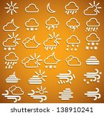 weather icons set on orange... | Shutterstock .eps vector #138910241