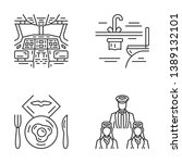 Aviation Services Linear Icons...