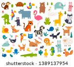 Stock vector cute animal vector illustration icon set isolated on a white background 1389137954