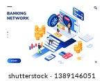 bank vault with people queue.... | Shutterstock .eps vector #1389146051