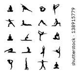 set of 20 yoga positions black... | Shutterstock .eps vector #138915779