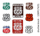 route 66 sign set | Shutterstock .eps vector #138917651