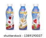 drinking yogurt in bottles set... | Shutterstock .eps vector #1389190037