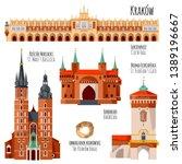 sights of krakow  poland. cloth ... | Shutterstock .eps vector #1389196667
