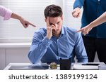 many hands pointing the stress... | Shutterstock . vector #1389199124