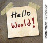 Small photo of text hello world the packing paper box texture background