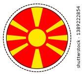 macedonia flag sticker on white ...   Shutterstock .eps vector #1389222854