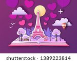 open fairy tale book with paris ... | Shutterstock .eps vector #1389223814