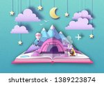 open fairy tale book with... | Shutterstock .eps vector #1389223874