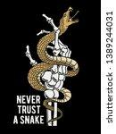 snake and skeleton hand... | Shutterstock .eps vector #1389244031