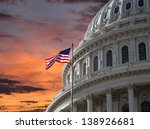 Stock photo sunset sky over the us capitol building dome in washington dc 138926681