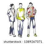 stylish handsome mans in... | Shutterstock .eps vector #1389267371