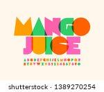 vector bright emblem mango... | Shutterstock .eps vector #1389270254