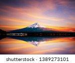mount fuji san reflect at lake... | Shutterstock . vector #1389273101