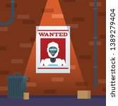 wanted poster with robot... | Shutterstock .eps vector #1389279404